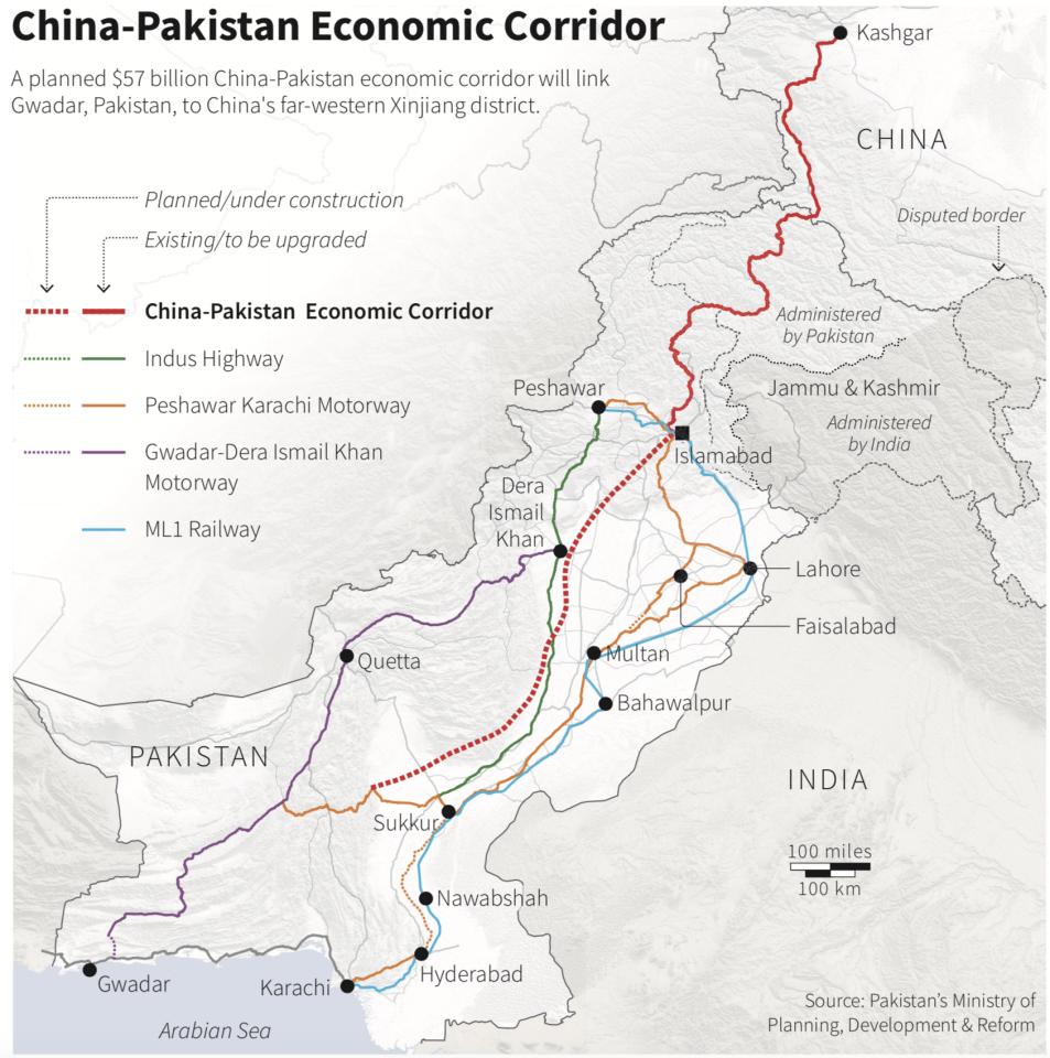 China and Pak Economic Corridor Map