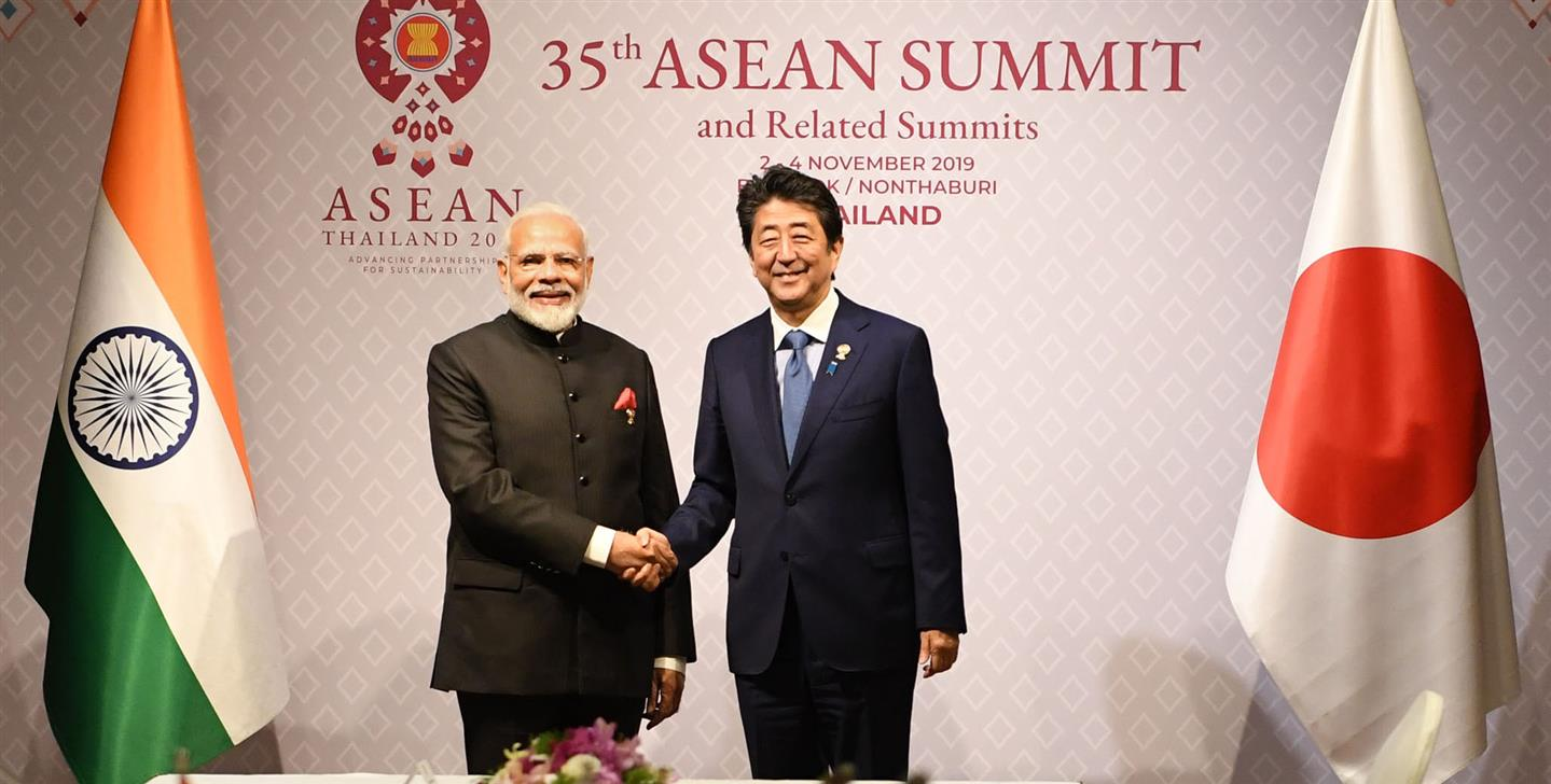 India and Japan Prime Ministers in a bilateral meeting of 16th India-ASEAN Summit, in Bangkok, Thailand