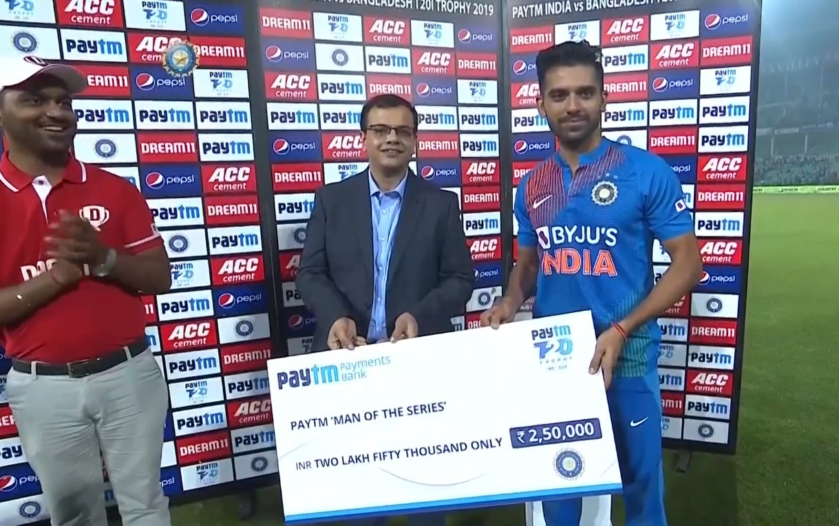 Player Of The Series - Deepak Chahar (India)