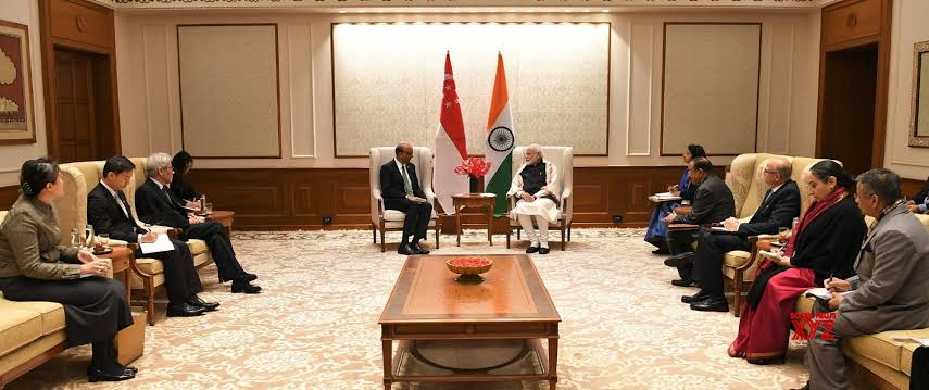 Indian Prime Minister Narendra Modi and Singaporean Senior Minister Tharman Shanmugaratnam