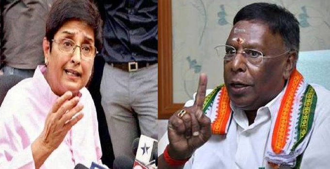 CM V Narayansamy and Governor Kiran Bedi