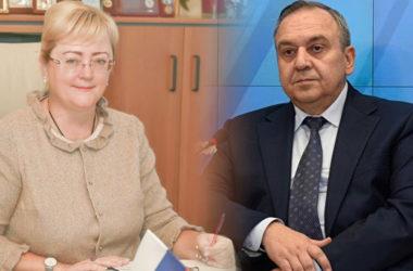 Crimea's Deputy PM Goergy Muradov and Foreign Minister Irina Kiviko