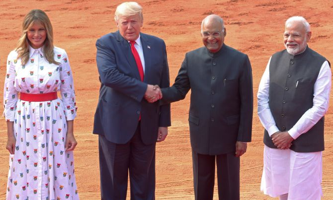 US President Donald Trump with Indian President and PM