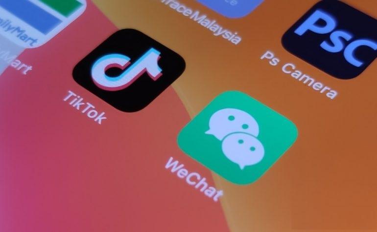 Apps TikTok and WeChat