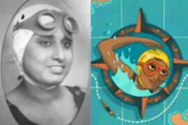 Indian Swimmer Arati Saha in Google Doodle