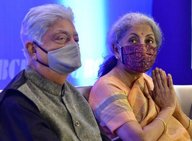 Azim Premji and Finance Minister Nirmala Sitharaman